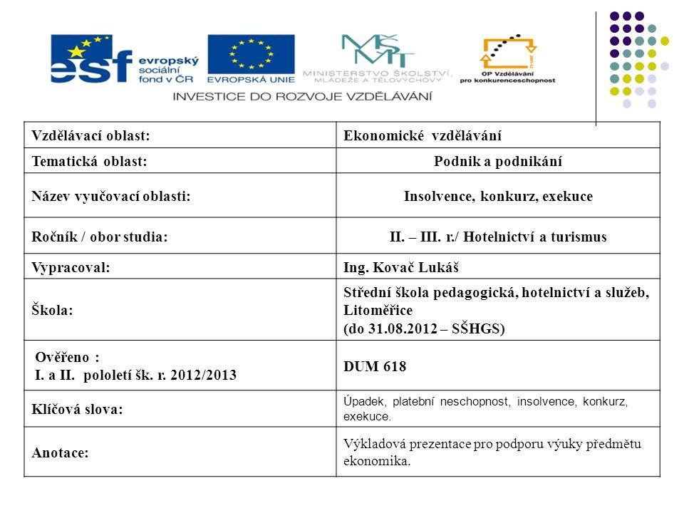 Vzdělávací oblast:Ekonomické vzdělávání Tematická oblast:Podnik a podnikání Název vyučovací oblasti:Insolvence, konkurz, exekuce Ročník / obor studia:II.