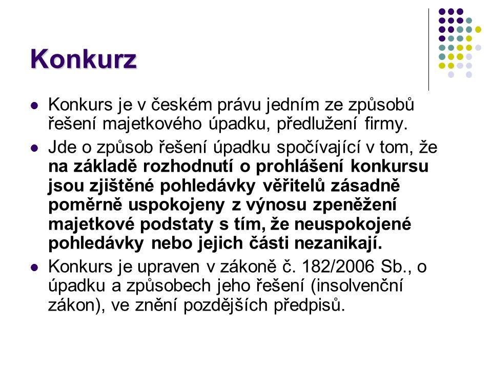 Konkurz Konkurs je v českém právu jedním ze způsobů řešení majetkového úpadku, předlužení firmy.