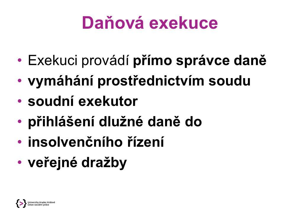 Daňová exekuce Exekuci provádí přímo správce daně vymáhání prostřednictvím soudu soudní exekutor přihlášení dlužné daně do insolvenčního řízení veřejné dražby