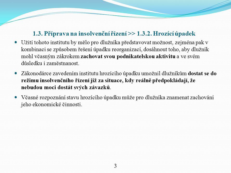 1.3. Příprava na insolvenční řízení >> 1.3.2. Hrozící úpadek Užití tohoto institutu by mělo pro dlužníka představovat možnost, zejména pak v kombinaci