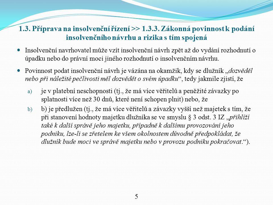 1.3. Příprava na insolvenční řízení >> 1.3.3.