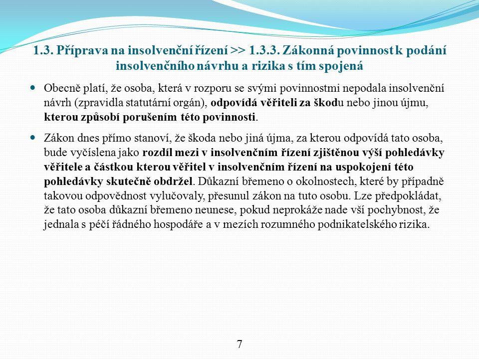 1.3. Příprava na insolvenční řízení >> 1.3.3. Zákonná povinnost k podání insolvenčního návrhu a rizika s tím spojená Obecně platí, že osoba, která v r