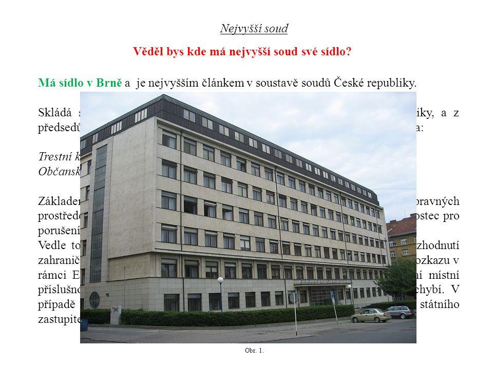Má také sídlo v Brně je spolu s Nejvyšším soudem vrcholným orgánem soudní moci v České republice.