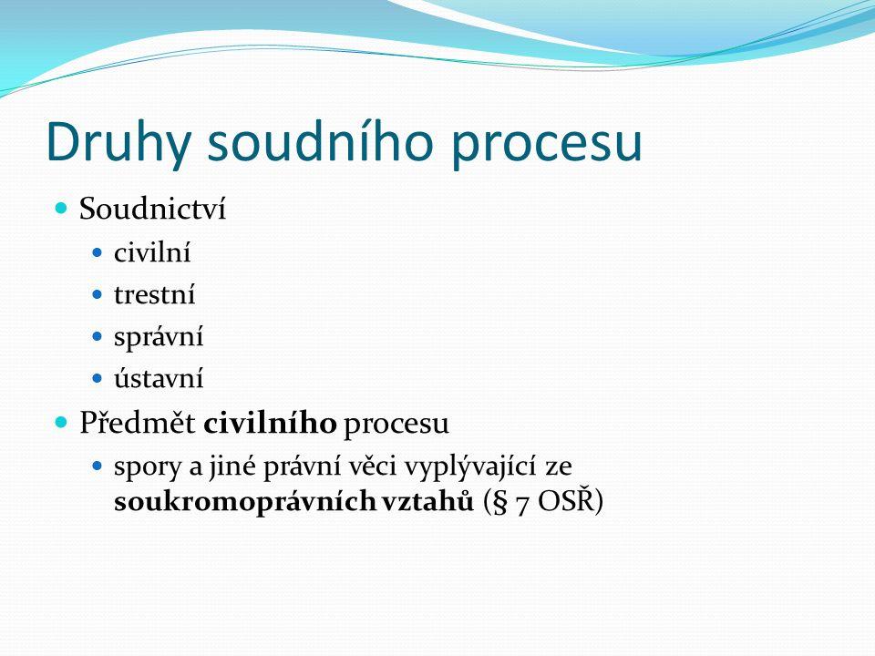 Druhy soudního procesu Soudnictví civilní trestní správní ústavní Předmět civilního procesu spory a jiné právní věci vyplývající ze soukromoprávních vztahů (§ 7 OSŘ)
