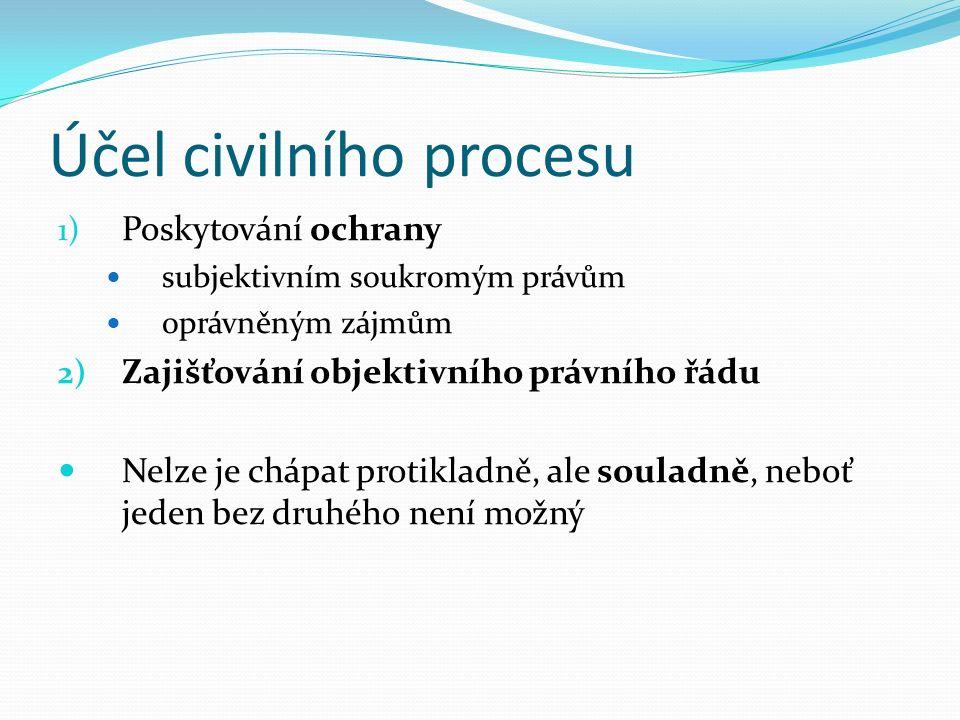 Účel civilního procesu 1) Poskytování ochrany subjektivním soukromým právům oprávněným zájmům 2) Zajišťování objektivního právního řádu Nelze je chápat protikladně, ale souladně, neboť jeden bez druhého není možný