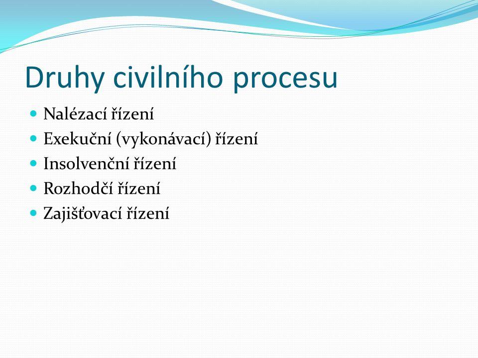 Druhy civilního procesu Nalézací řízení Exekuční (vykonávací) řízení Insolvenční řízení Rozhodčí řízení Zajišťovací řízení