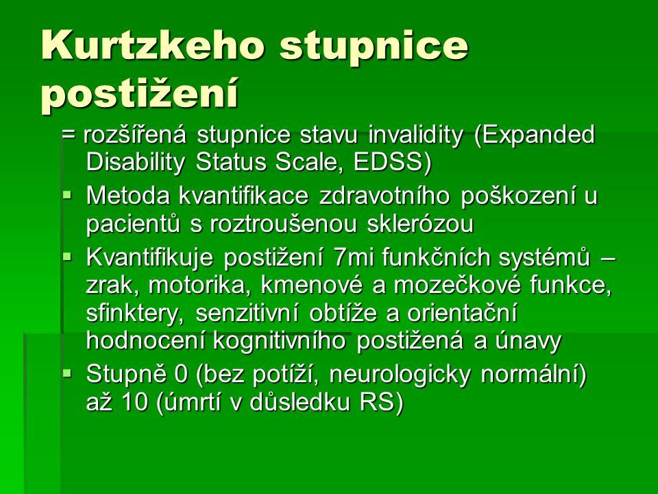 Kurtzkeho stupnice postižení = rozšířená stupnice stavu invalidity (Expanded Disability Status Scale, EDSS)  Metoda kvantifikace zdravotního poškozen