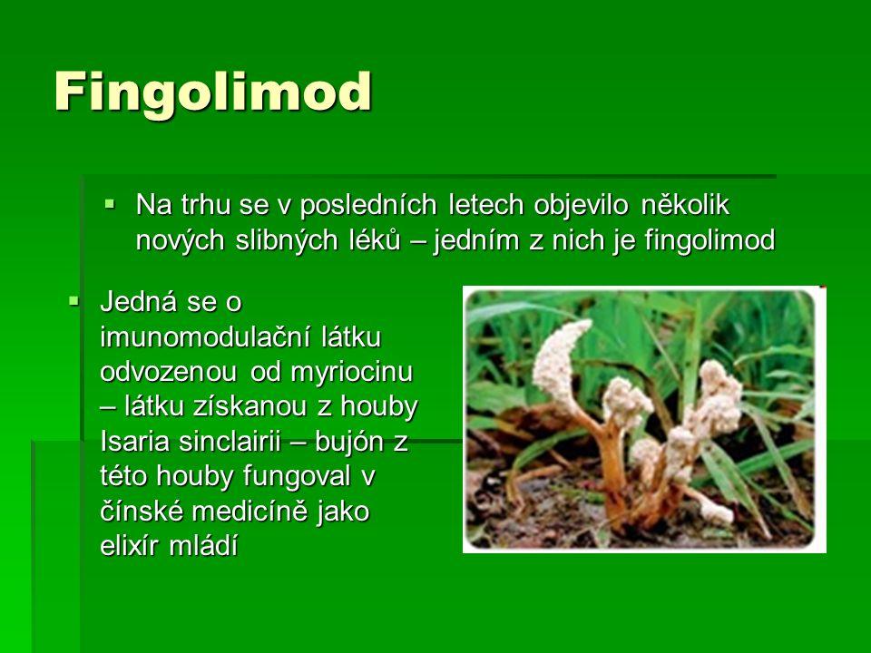 Fingolimod  Na trhu se v posledních letech objevilo několik nových slibných léků – jedním z nich je fingolimod  Jedná se o imunomodulační látku odvo