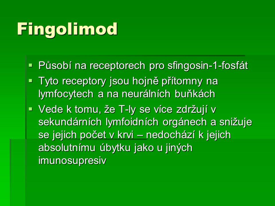 Fingolimod  Působí na receptorech pro sfingosin-1-fosfát  Tyto receptory jsou hojně přítomny na lymfocytech a na neurálních buňkách  Vede k tomu, ž