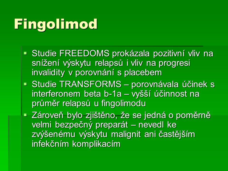 Fingolimod  Studie FREEDOMS prokázala pozitivní vliv na snížení výskytu relapsů i vliv na progresi invalidity v porovnání s placebem  Studie TRANSFO