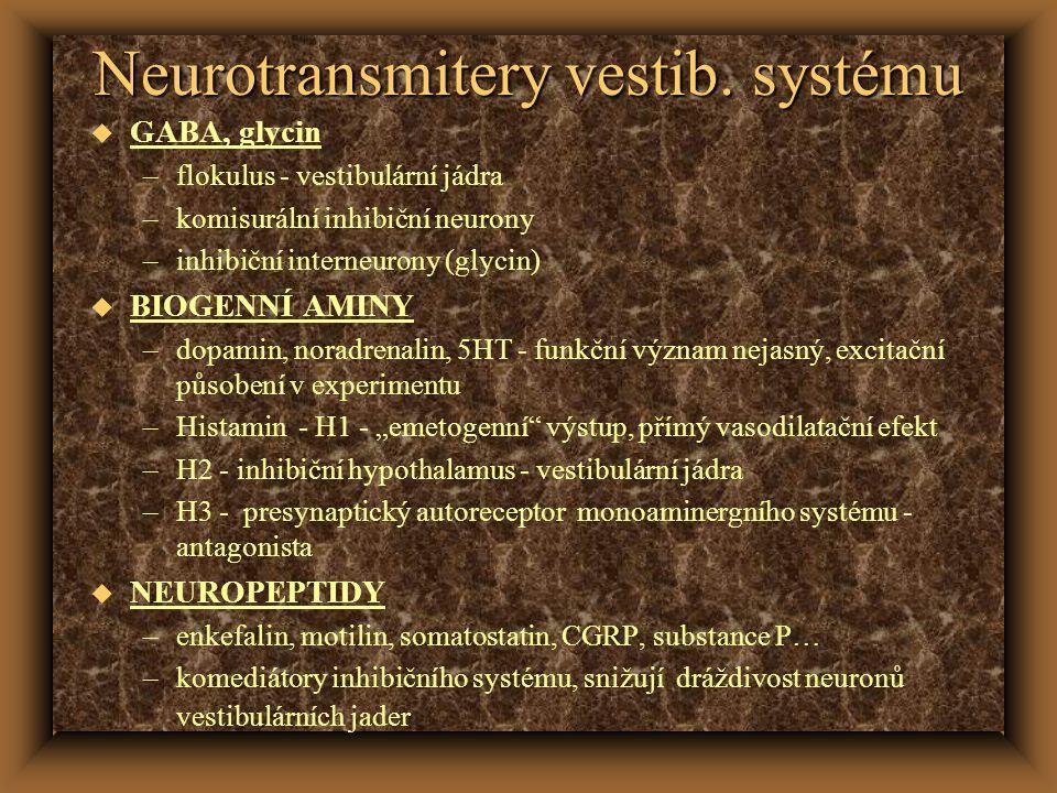 Neurotransmitery vestib. systému u GABA, glycin –flokulus - vestibulární jádra –komisurální inhibiční neurony –inhibiční interneurony (glycin) u BIOGE