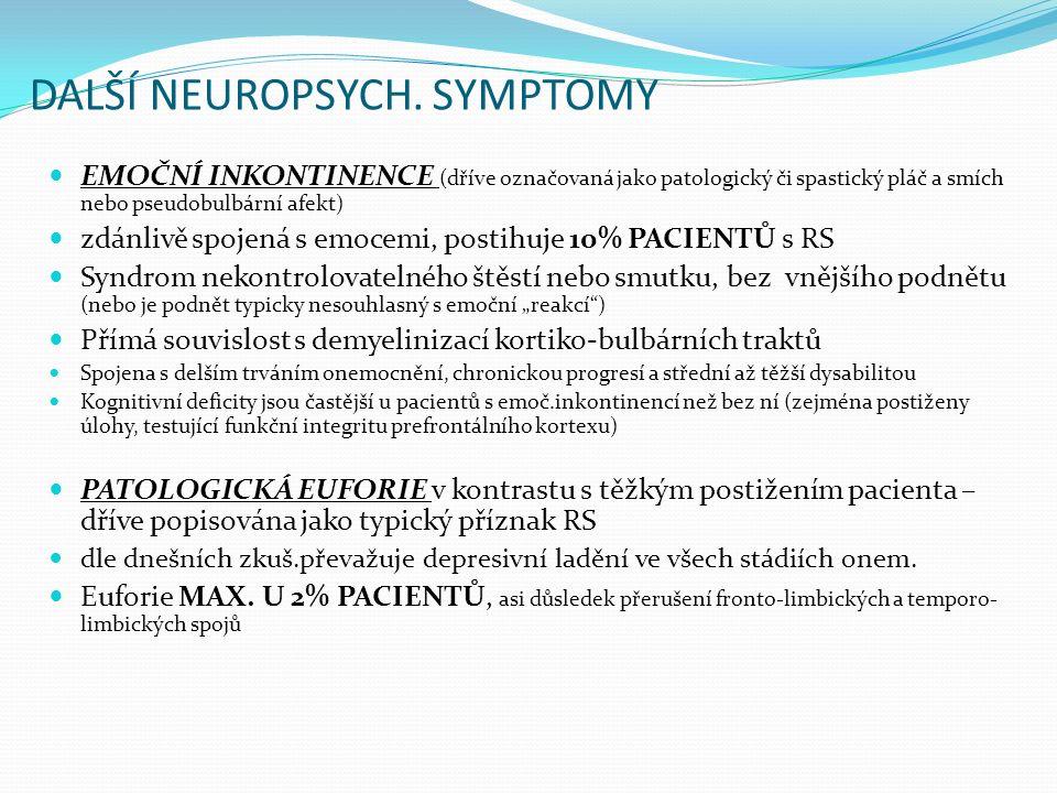 DALŠÍ NEUROPSYCH. SYMPTOMY EMOČNÍ INKONTINENCE (dříve označovaná jako patologický či spastický pláč a smích nebo pseudobulbární afekt) zdánlivě spojen