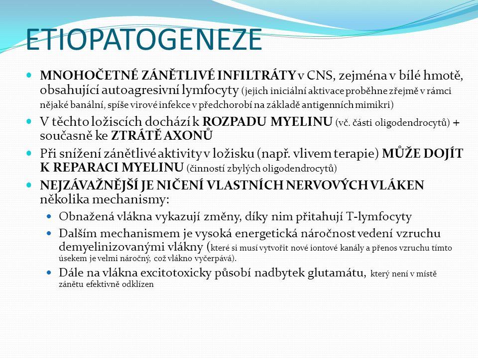 ETIOPATOGENEZE MNOHOČETNÉ ZÁNĚTLIVÉ INFILTRÁTY v CNS, zejména v bílé hmotě, obsahující autoagresivní lymfocyty (jejich iniciální aktivace proběhne zřejmě v rámci nějaké banální, spíše virové infekce v předchorobí na základě antigenních mimikri) V těchto ložiscích dochází k ROZPADU MYELINU (vč.