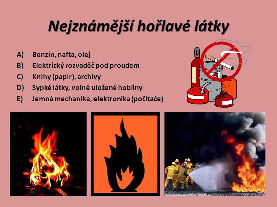 Nejznámější hořlavé látky A)Benzín, nafta, olej B)Elektrický rozvaděč pod proudem C)Knihy (papír), archivy D)Sypké látky, volně uložené hobliny E)Jemn