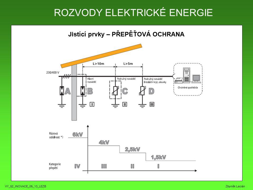 VY_52_INOVACE_05_13_LEZB Zbyněk Lecián Jistící prvky – PŘEPĚŤOVÁ OCHRANA ROZVODY ELEKTRICKÉ ENERGIE