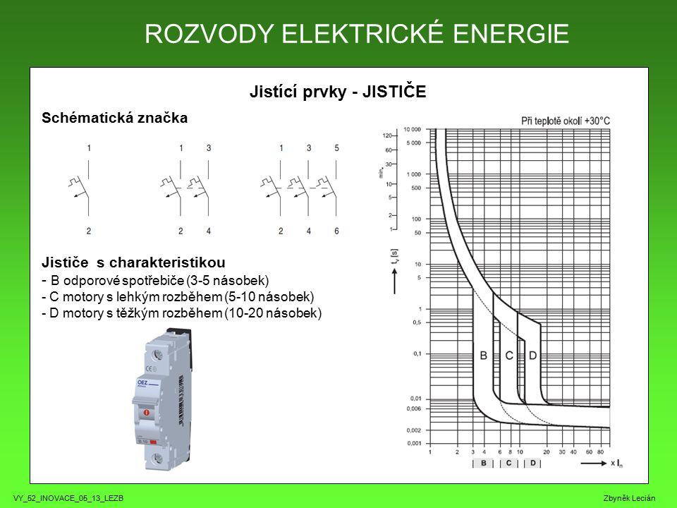 VY_52_INOVACE_05_13_LEZB Zbyněk Lecián Jistící prvky - JISTIČE Schématická značka Jističe s charakteristikou - B odporové spotřebiče (3-5 násobek) - C