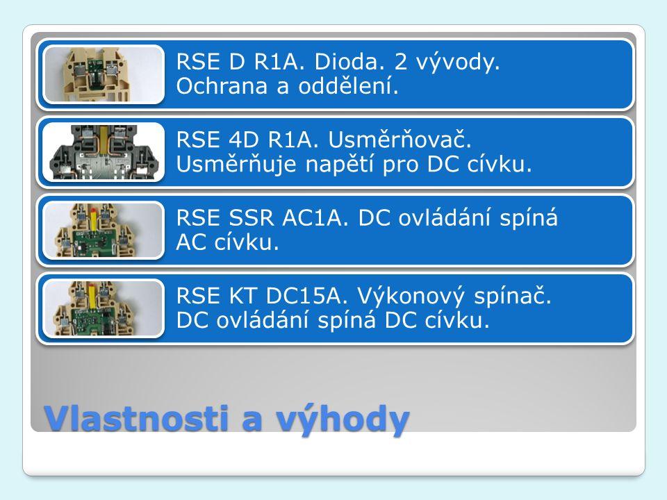 Vlastnosti a výhody RSE D R1A. Dioda. 2 vývody. Ochrana a oddělení. RSE 4D R1A. Usměrňovač. Usměrňuje napětí pro DC cívku. RSE SSR AC1A. DC ovládání s