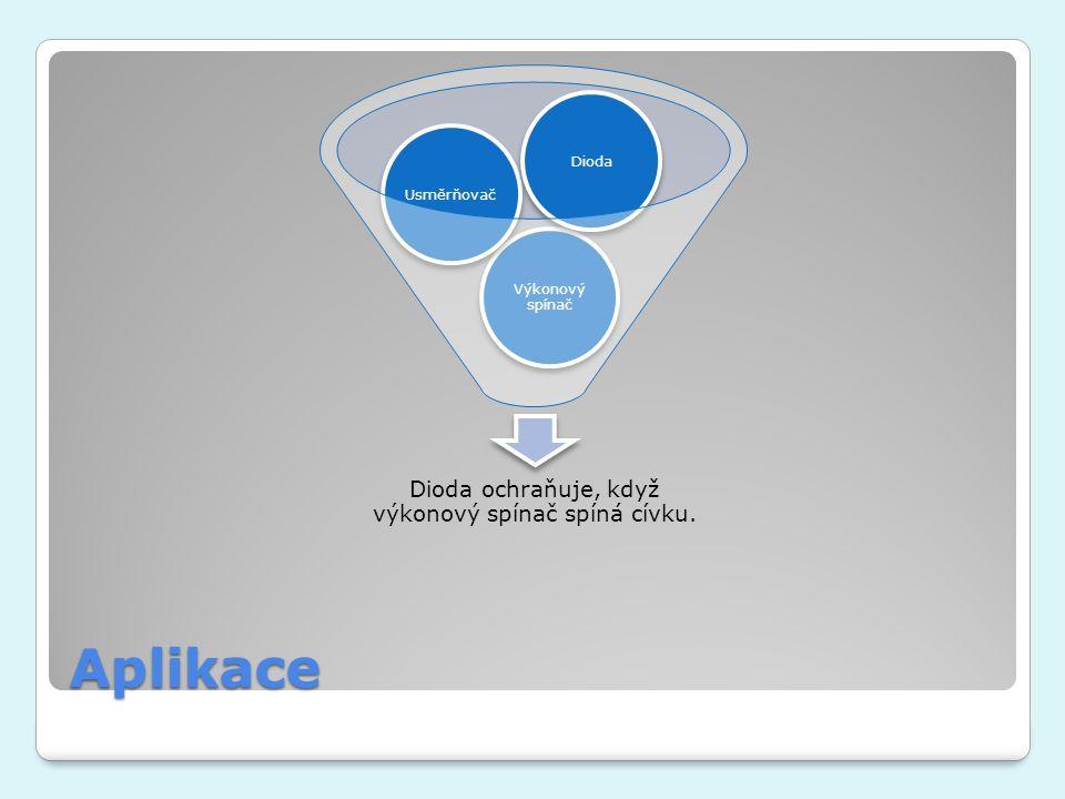 Aplikace Dioda ochraňuje, když výkonový spínač spíná cívku. Výkonový spínač UsměrňovačDioda