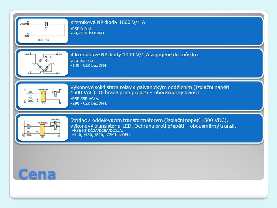 Cena Křemíková NP dioda 1000 V/1 A. RSE D R1A. 69,- CZK bez DPH 4 křemíkové NP diody 1000 V/1 A zapojené do můstku. RSE 4D R1A. 140,- CZK bez DPH Výko