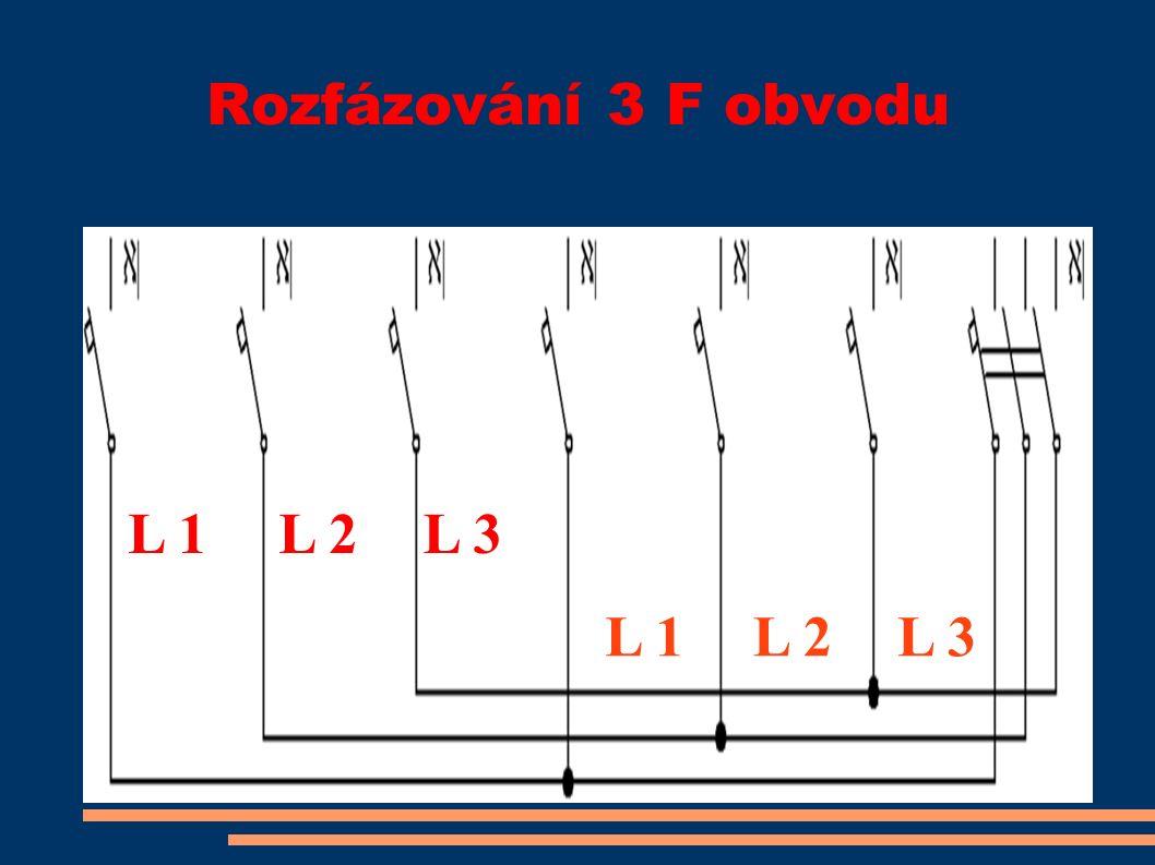 Rozfázování 3 F obvodu L 1L 2L 3 L 1L 2L 3