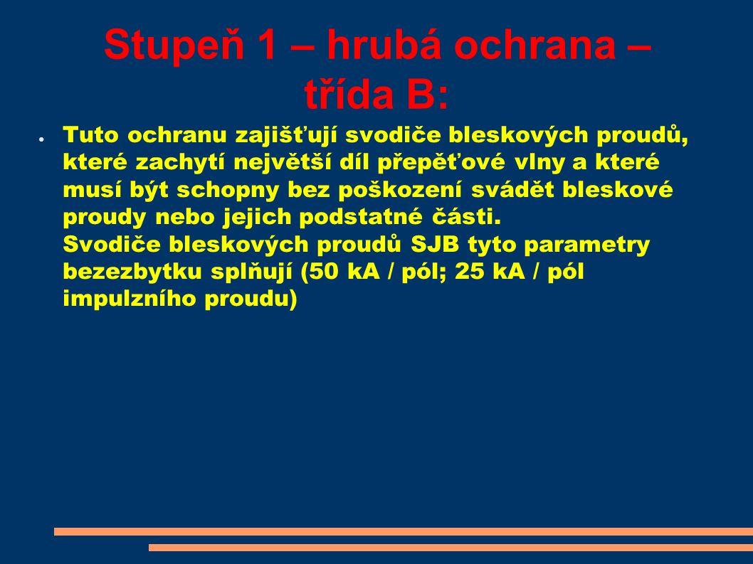Stupeň 1 – hrubá ochrana – třída B: ● Tuto ochranu zajišťují svodiče bleskových proudů, které zachytí největší díl přepěťové vlny a které musí být sch