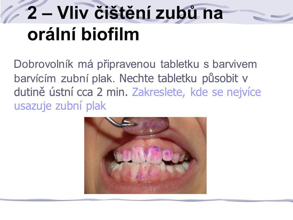 2 – Vliv čištění zubů na orální biofilm Dobrovolník má připravenou tabletku s barvivem barvícím zubní plak.