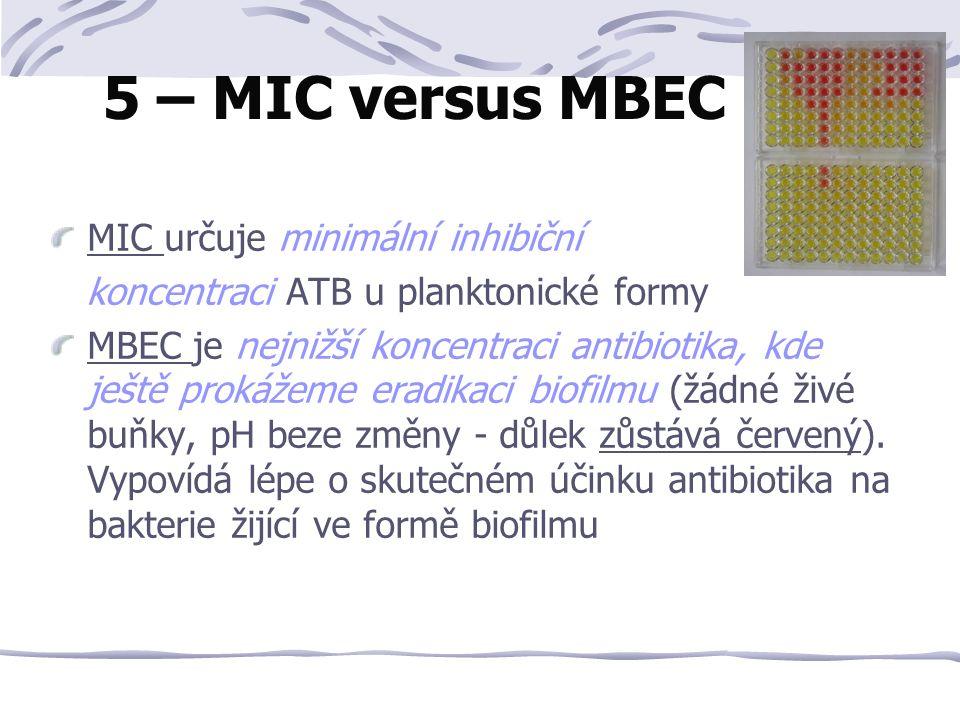 MIC určuje minimální inhibiční koncentraci ATB u planktonické formy MBEC je nejnižší koncentraci antibiotika, kde ještě prokážeme eradikaci biofilmu (žádné živé buňky, pH beze změny - důlek zůstává červený).