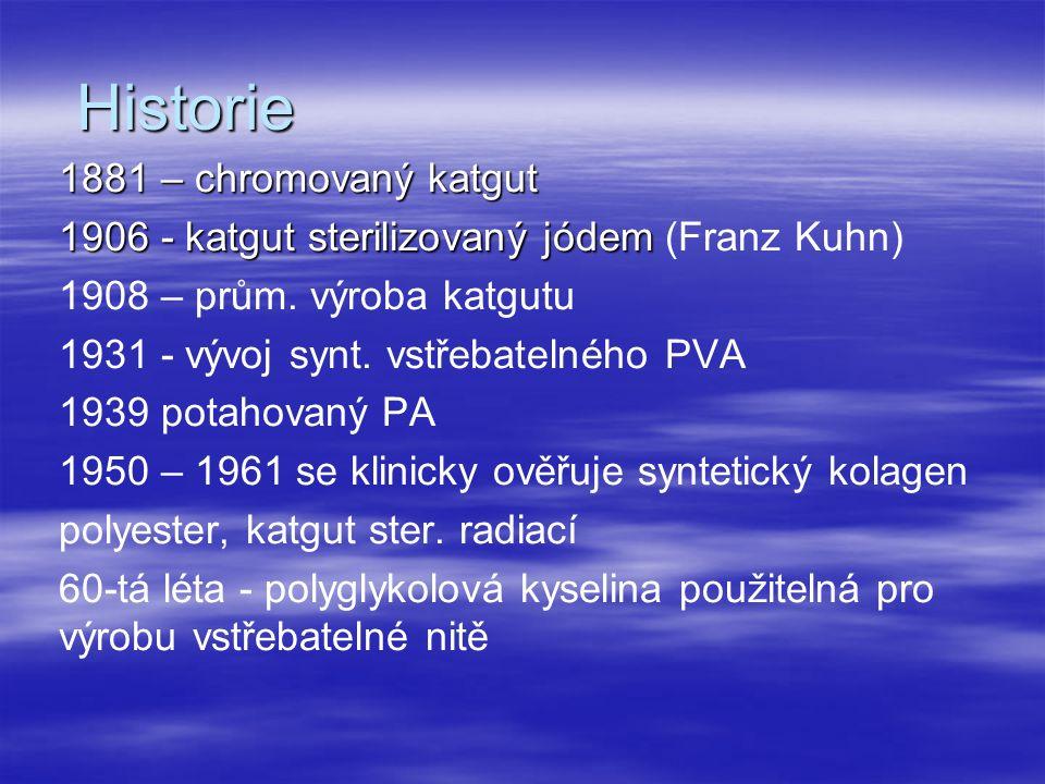 Základní dělení dle vstřebatelnosti a původu dle počtu vláken a jejich spojování dle úpravy dle použití dle upevnění jehly Materi á l VstřebatelnýNevstřebatelný Př í rodn í Katgut Hedv á b í Len Syntetický Kyselina polyglykolov á Glykolid – laktidov é kopolymery Polydioxanon Kopolymery glykolid – laktidu a trimetylen karbon á tu Polypropylen Polyester Polyetyteltereftal á t Polybutyl é n tereftal á t Polyamid