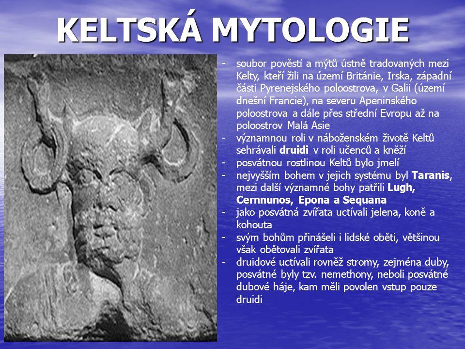 SEVERSKÁ MYTOLOGIE -souhrn pověstí, legend a představ o hrdinech, bozích, vzniku, účelu a konci světa pocházející od germánských kmenů obývajících Skandinávský poloostrov a jeho okolí - společná vikingská minulost -severský panteon tvoří dvě skupiny bohů, válečničtí Ásové a Vanové, spojovaní s plodností -za nejvyššího boha se dá považovat Ódin, jeden ze tří prvotních bohů a patron magie a run, Thór, bůh hromu, deště, nebe a plodnosti země, Tyr, bůh války, a Freya, bohyně plodnosti -bohové sídlí v Ásgardu -zemřelí v bitvě odchází do Valhally, kde se cvičí v boji na Ragnarök