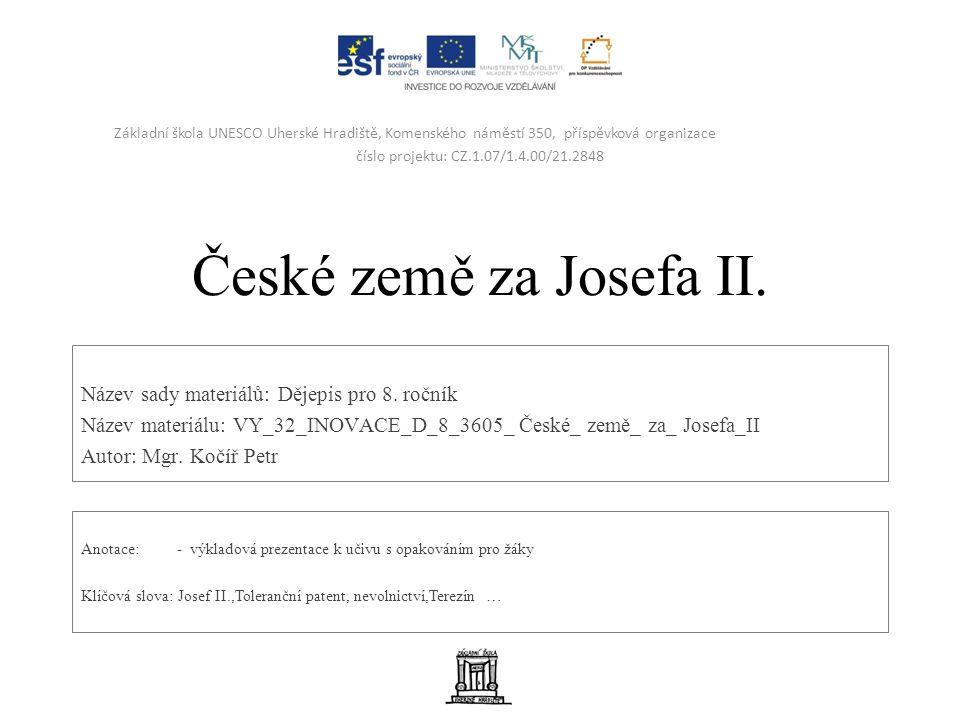 České země za Josefa II. Název sady materiálů: Dějepis pro 8.