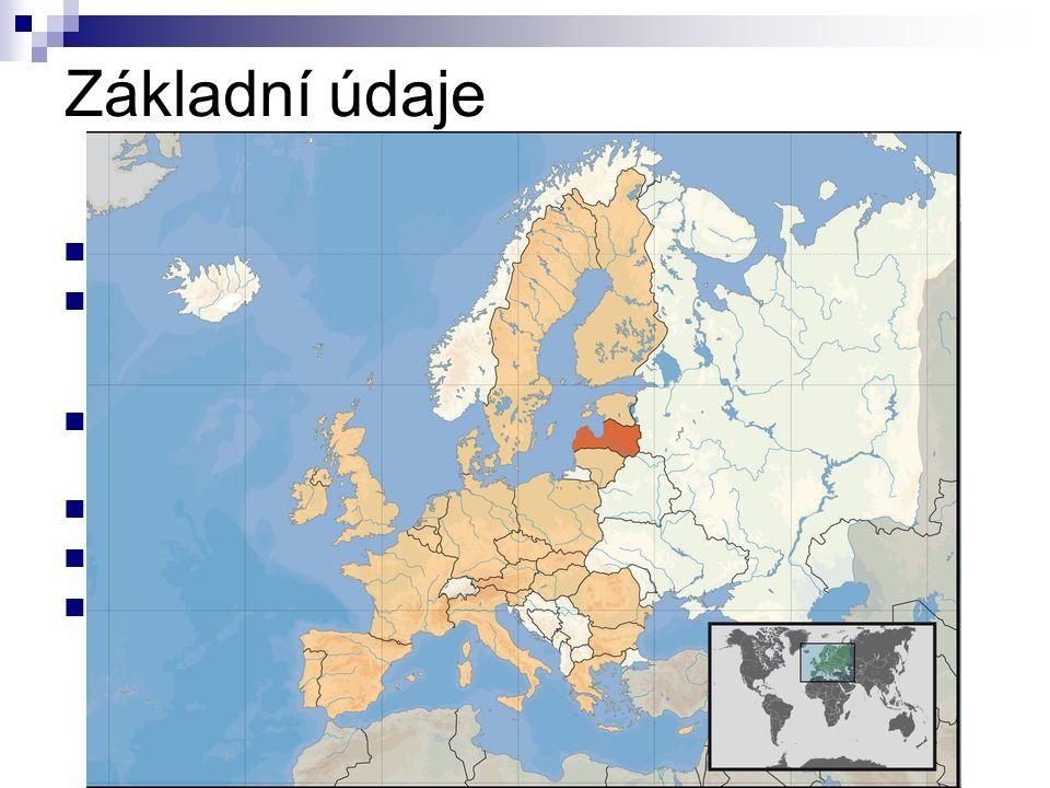 Základní údaje Hlavní město:Riga Rozloha:64 589 km² (122.na světě)  z toho 1,5 % vodní plochy Nejvyšší bod:Gaizinkalns (312 m.n. m.) Časové pásmo:+2