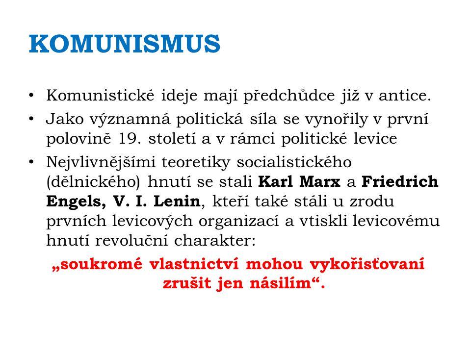 KOMUNISMUS Komunistické ideje mají předchůdce již v antice.