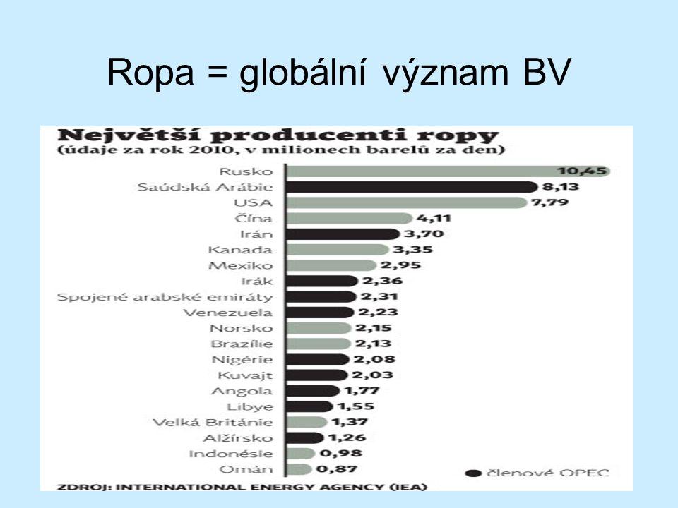 Ropa = globální význam BV