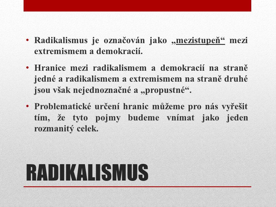 """RADIKALISMUS Radikalismus je označován jako """"mezistupeň mezi extremismem a demokracií."""