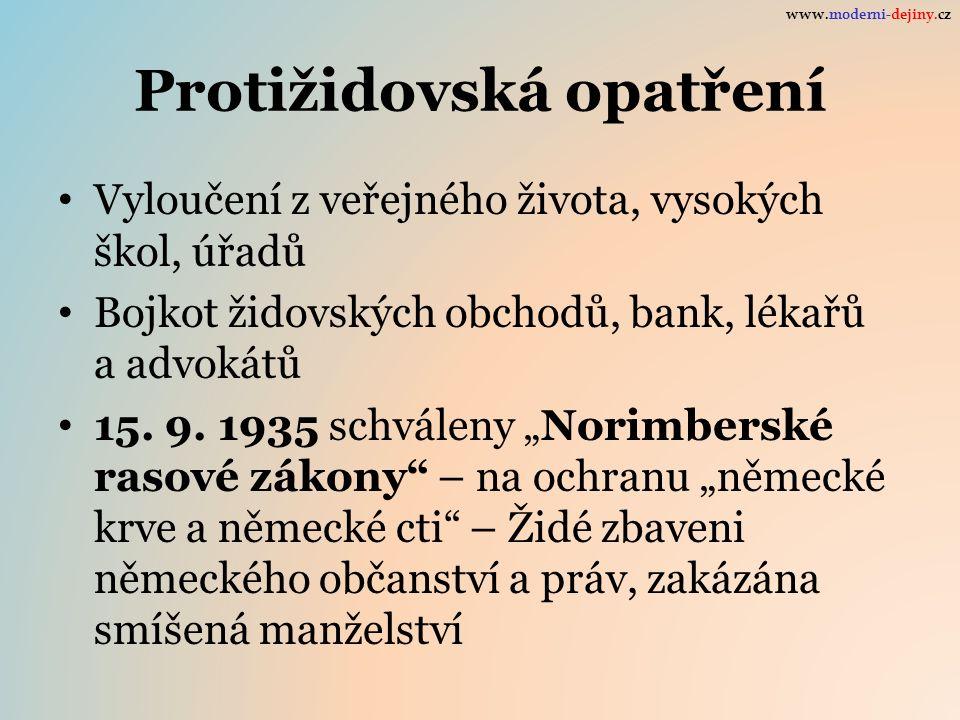 Protižidovská opatření Vyloučení z veřejného života, vysokých škol, úřadů Bojkot židovských obchodů, bank, lékařů a advokátů 15.