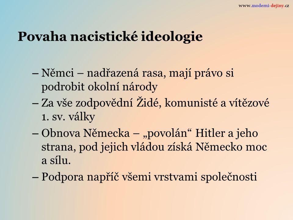Povaha nacistické ideologie – Němci – nadřazená rasa, mají právo si podrobit okolní národy – Za vše zodpovědní Židé, komunisté a vítězové 1. sv. války