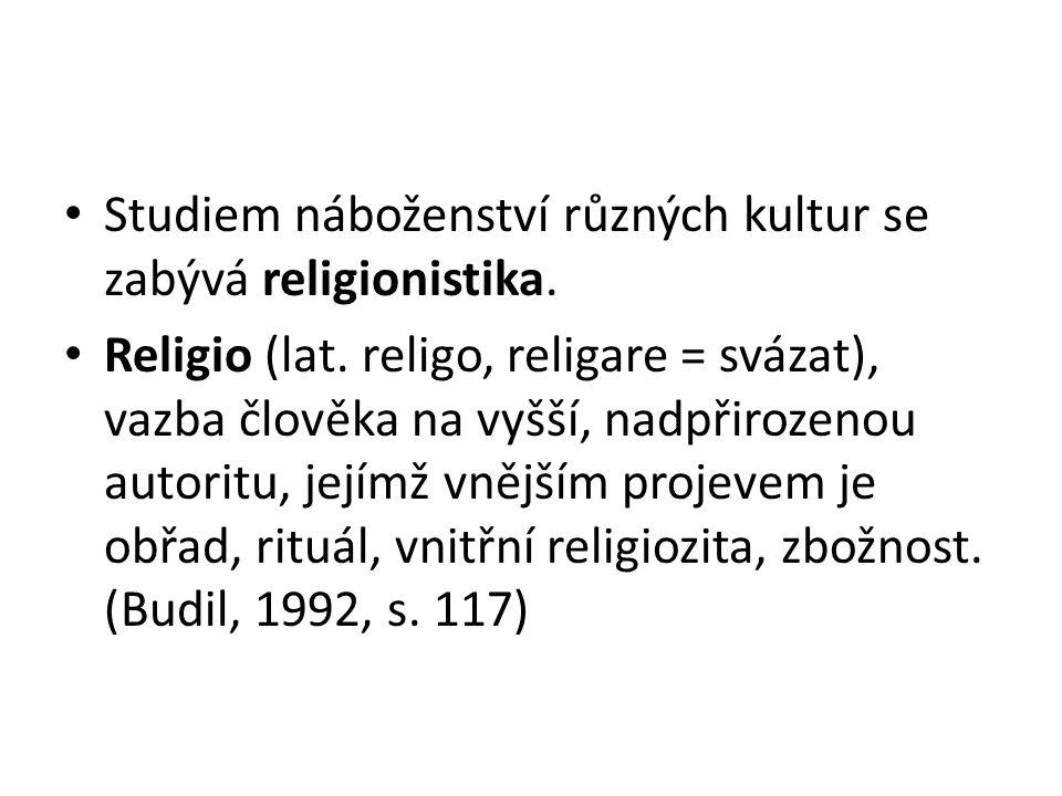 Studiem náboženství různých kultur se zabývá religionistika.