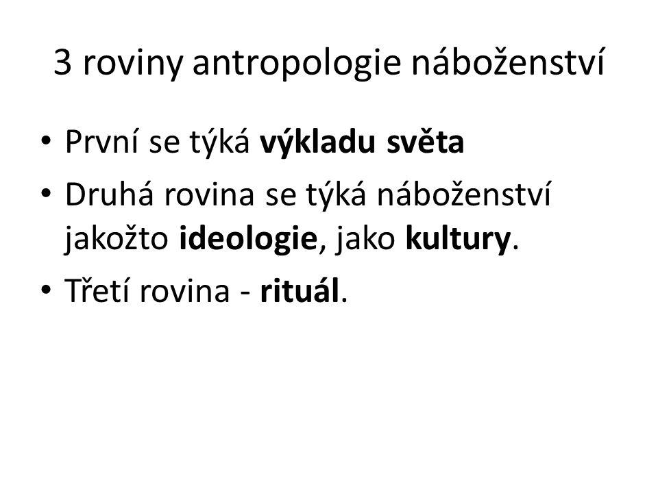 3 roviny antropologie náboženství První se týká výkladu světa Druhá rovina se týká náboženství jakožto ideologie, jako kultury.