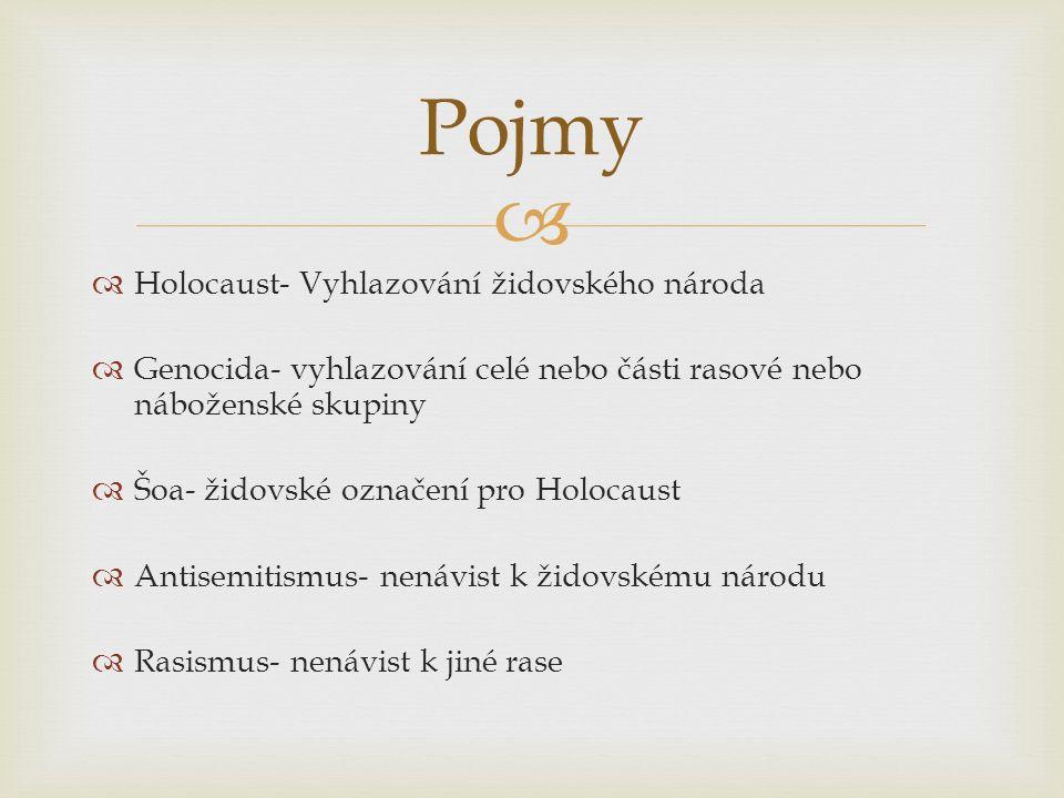  Pojmy  Holocaust- Vyhlazování židovského národa  Genocida- vyhlazování celé nebo části rasové nebo náboženské skupiny  Šoa- židovské označení pro Holocaust  Antisemitismus- nenávist k židovskému národu  Rasismus- nenávist k jiné rase