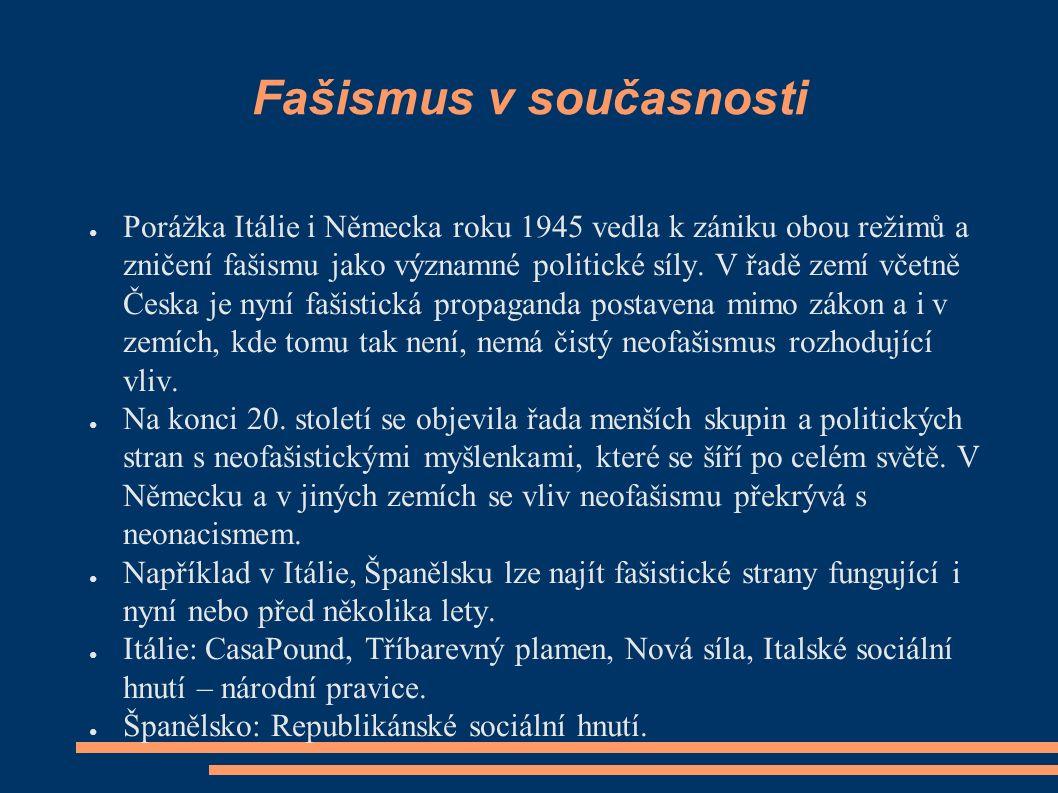 Fašismus v současnosti ● Porážka Itálie i Německa roku 1945 vedla k zániku obou režimů a zničení fašismu jako významné politické síly.