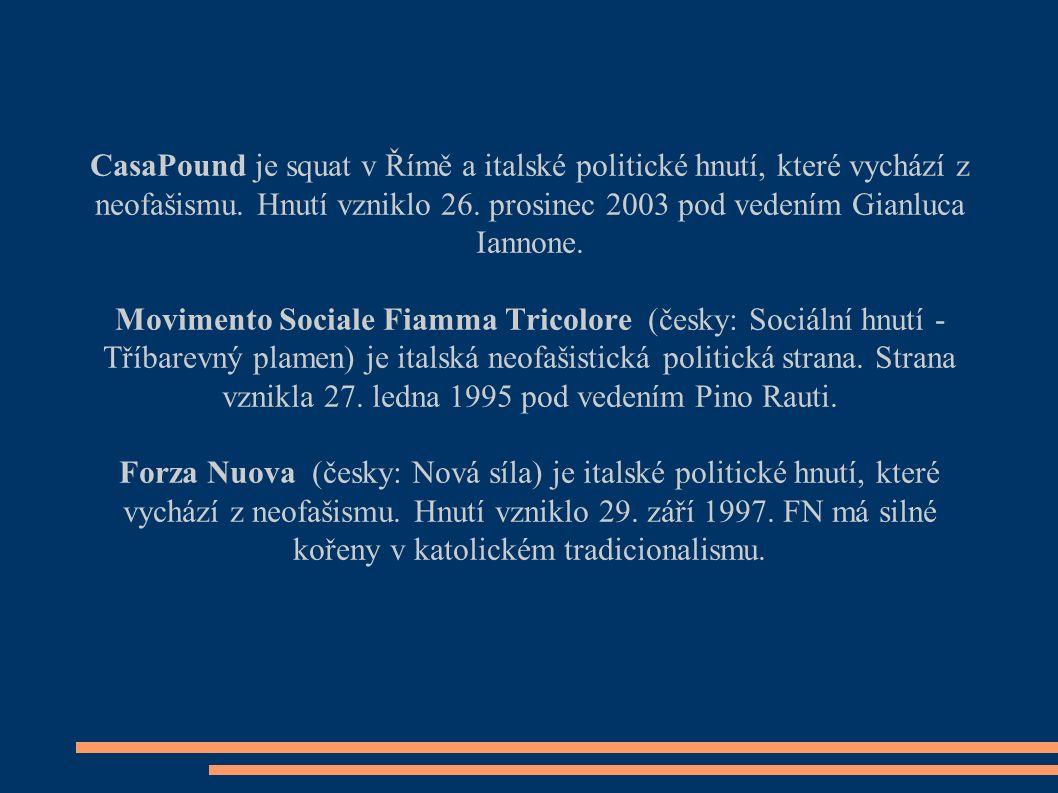 CasaPound je squat v Římě a italské politické hnutí, které vychází z neofašismu.