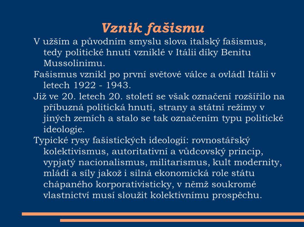 Vznik fašismu V užším a původním smyslu slova italský fašismus, tedy politické hnutí vzniklé v Itálii díky Benitu Mussolinimu.