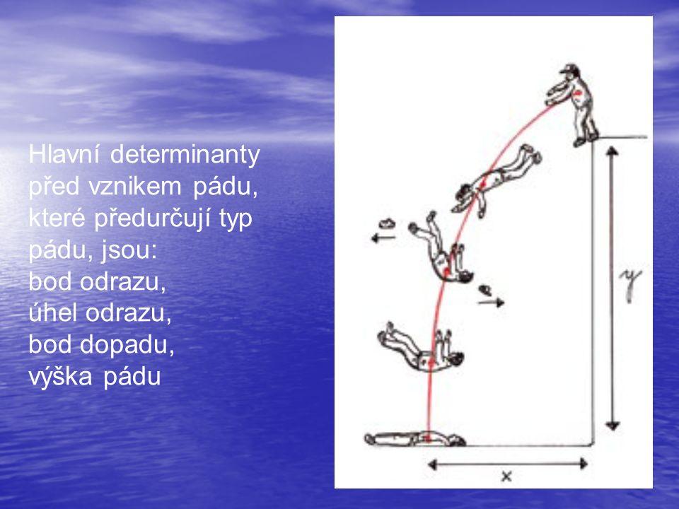Hlavní determinanty před vznikem pádu, které předurčují typ pádu, jsou: bod odrazu, úhel odrazu, bod dopadu, výška pádu