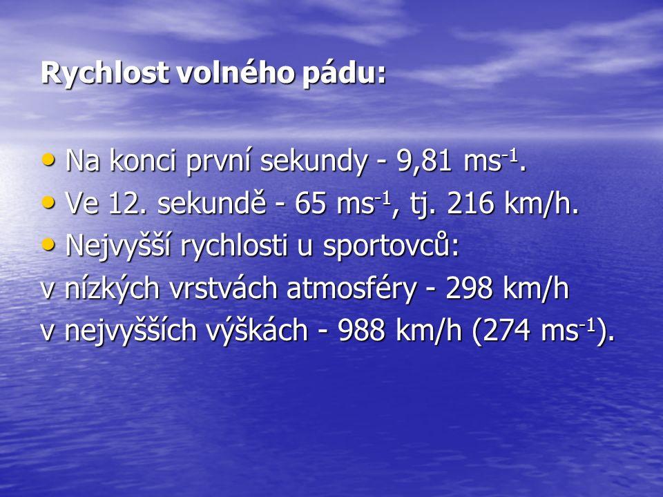 Rychlost volného pádu: Na konci první sekundy - 9,81 ms -1. Na konci první sekundy - 9,81 ms -1. Ve 12. sekundě - 65 ms -1, tj. 216 km/h. Ve 12. sekun
