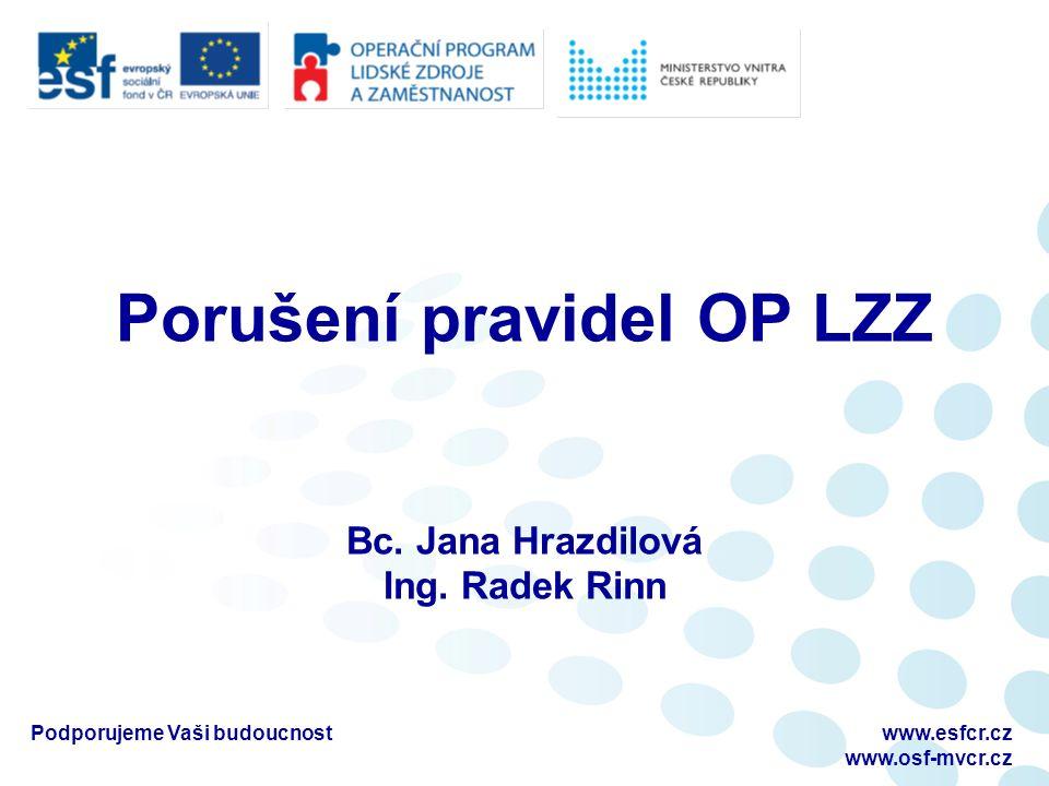 Porušení pravidel OP LZZ Bc. Jana Hrazdilová Ing. Radek Rinn www.esfcr.cz www.osf-mvcr.cz Podporujeme Vaši budoucnost