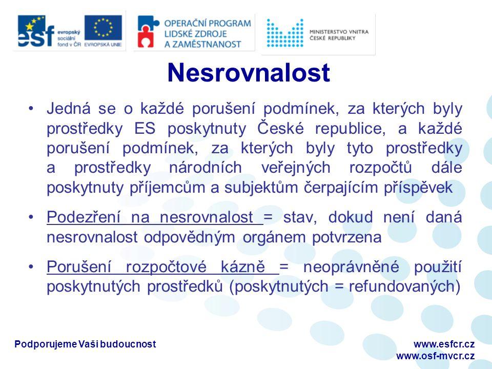 Nesrovnalost Jedná se o každé porušení podmínek, za kterých byly prostředky ES poskytnuty České republice, a každé porušení podmínek, za kterých byly