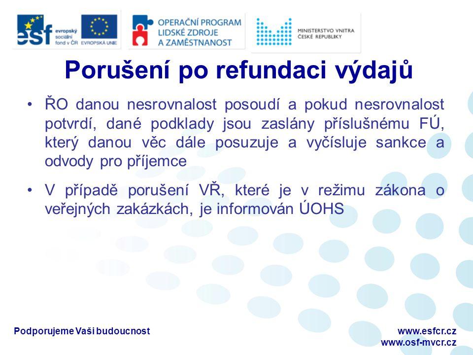 Porušení po refundaci výdajů ŘO danou nesrovnalost posoudí a pokud nesrovnalost potvrdí, dané podklady jsou zaslány příslušnému FÚ, který danou věc dá