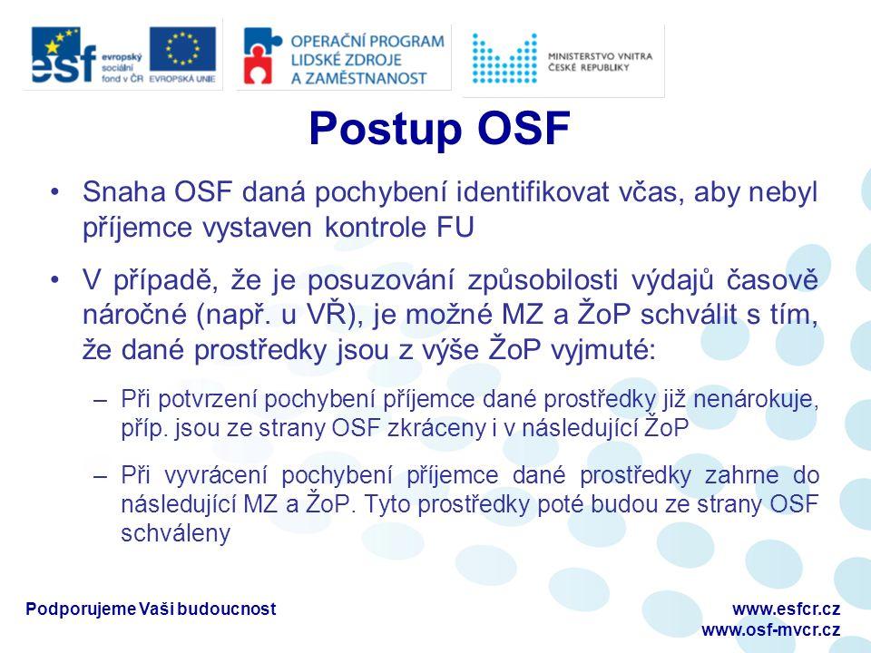 Postup OSF Snaha OSF daná pochybení identifikovat včas, aby nebyl příjemce vystaven kontrole FU V případě, že je posuzování způsobilosti výdajů časově náročné (např.