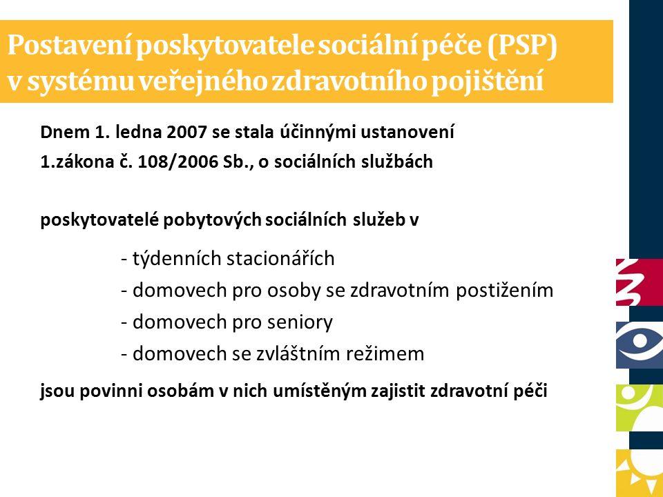 Postavení poskytovatele sociální péče (PSP) v systému veřejného zdravotního pojištění Dnem 1.