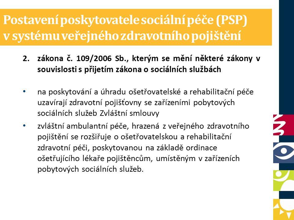Postavení poskytovatele sociální péče (PSP) v systému veřejného zdravotního pojištění 2.zákona č.